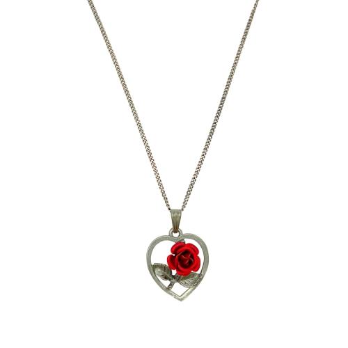 Halskette - Herz & Rose
